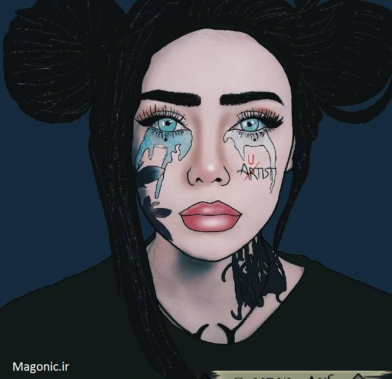 نقاشی دختر غمگین