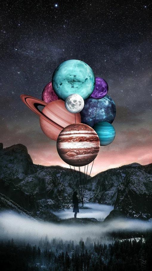 والپیپر سیارات و کهکشان