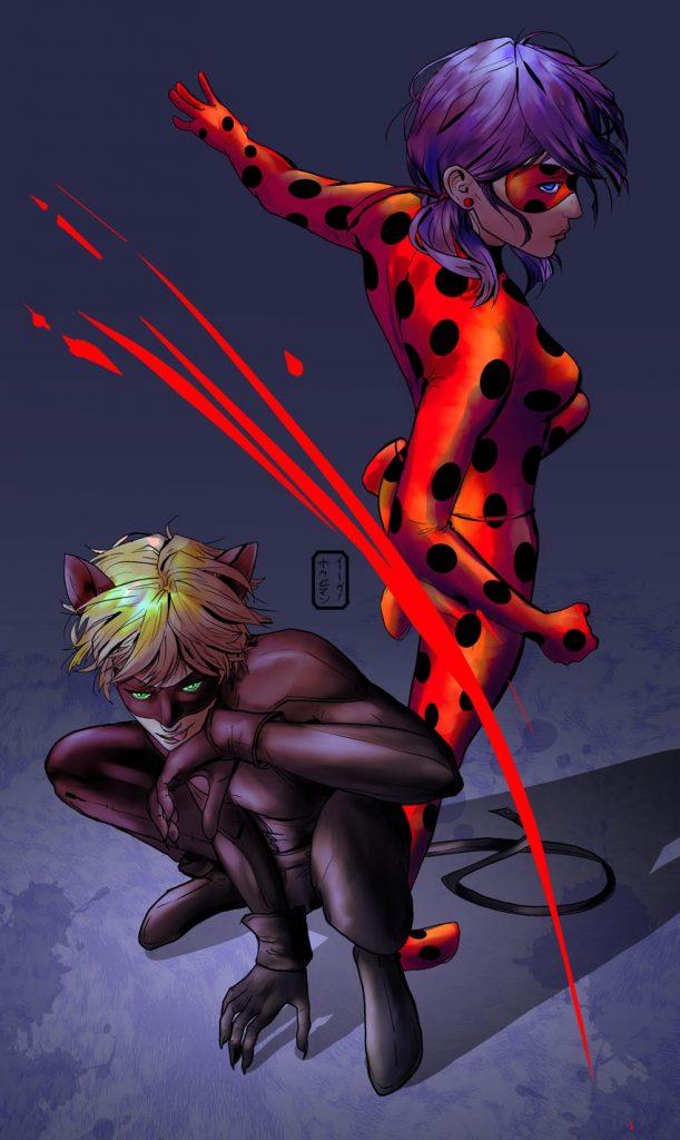تصویر زمینه و بک گراند دختر کفشدوزکی و گربه سیاه